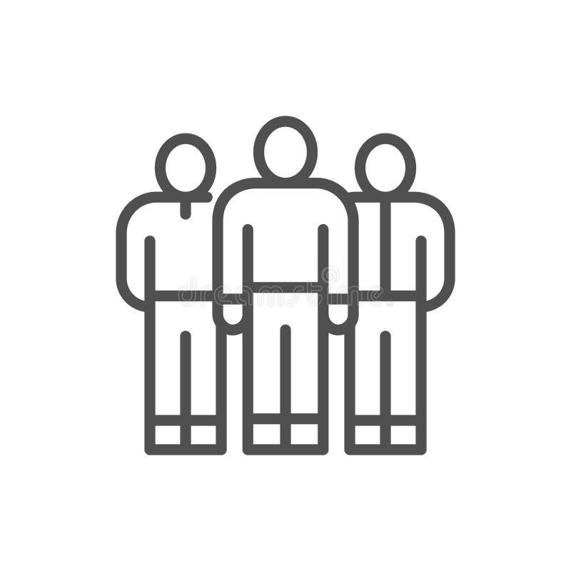 Commercieel team, mensengroep, de lijnpictogram van bedrijfarbeiders stock illustratie