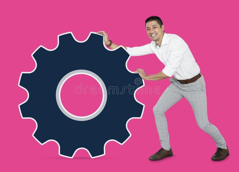Commercieel team met een grote magneet royalty-vrije stock fotografie