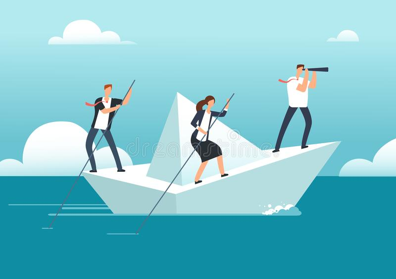 Commercieel team met leider het varen op document boot in oceaan van kansen aan doel Succesvolle groepswerk en leiding vector illustratie