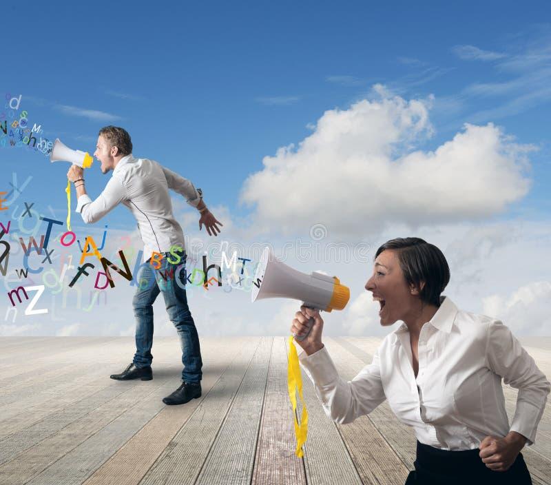 Commercieel team met megafoon stock afbeeldingen