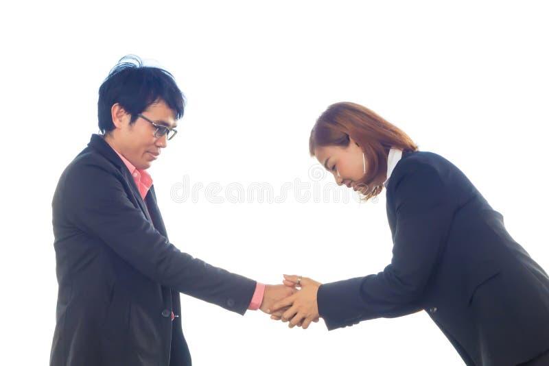 Commercieel team om handen te schudden om zaken samen te doen witte rug royalty-vrije stock foto