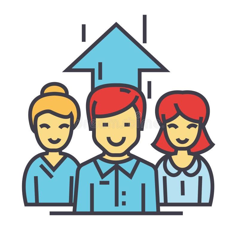 Commercieel team, op de markt brengende managers, die zakenman, onderneemsterconcept samenwerken stock illustratie