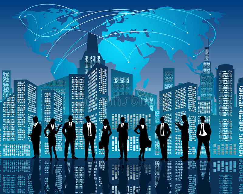 Commercieel team op stadsachtergrond vector illustratie