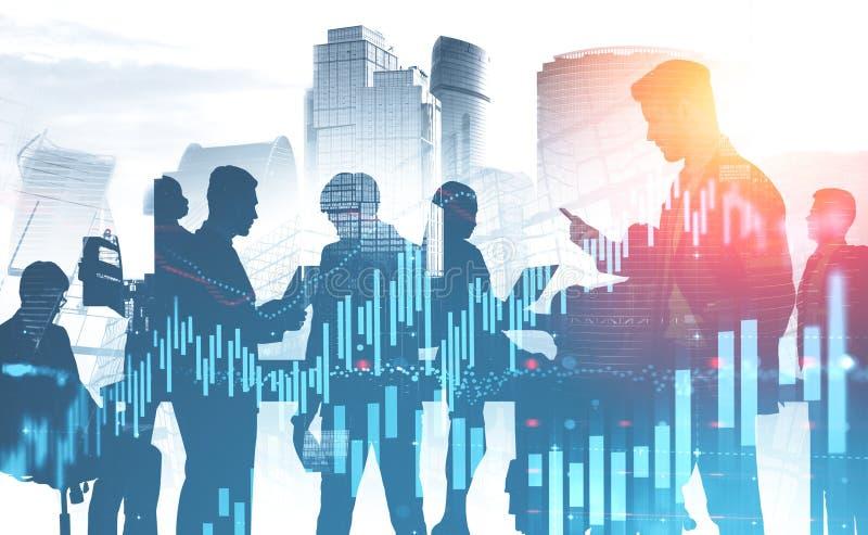 Commercieel team in stad en grafieken vector illustratie