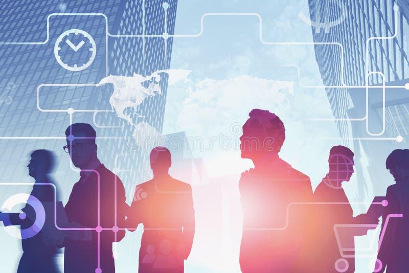 Commercieel team in stad, online betaling stock foto