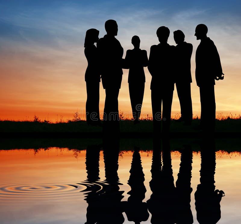 Commercieel van het silhouet team. stock foto's