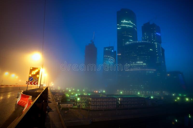 Commercieel van Moskou centrum bij nacht royalty-vrije stock foto