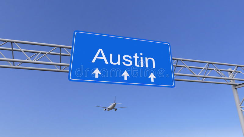 Commercieel vliegtuig die aan Austin-luchthaven aankomen Het reizen naar het conceptuele 3D teruggeven van Verenigde Staten royalty-vrije stock afbeeldingen