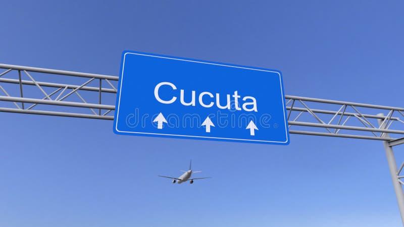 Commercieel vliegtuig die aan Cucuta-luchthaven aankomen Het reizen naar het conceptuele 3D teruggeven van Colombia royalty-vrije stock afbeelding