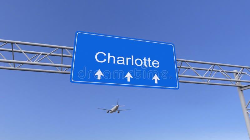 Commercieel vliegtuig die aan de luchthaven van Charlotte aankomen Het reizen naar het conceptuele 3D teruggeven van Verenigde St royalty-vrije stock afbeelding