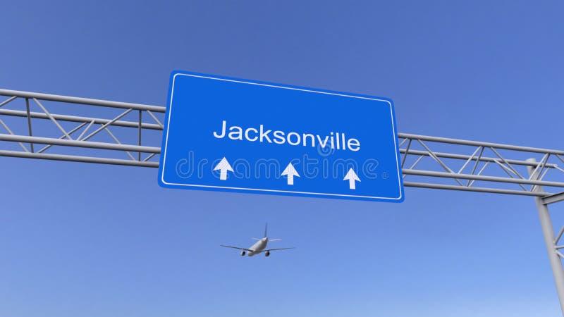 Commercieel vliegtuig die aan de luchthaven van Jacksonville aankomen Het reizen naar het conceptuele 3D teruggeven van Verenigde royalty-vrije stock afbeelding