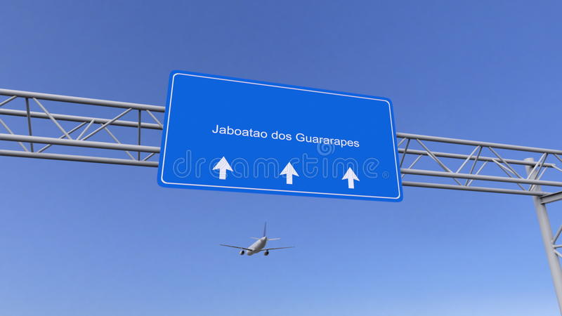 Commercieel vliegtuig die aan Jaboatao-de luchthaven van Dos Guararapes aankomen Het reizen naar het conceptuele 3D teruggeven va stock afbeelding