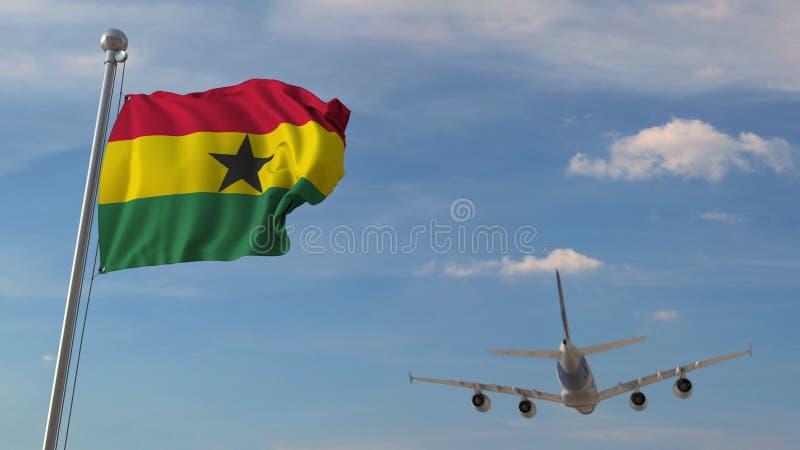 Commercieel vliegtuig die over nationale vlag van Ghana vliegen Het Ghanese luchtvervoer bracht het 3D teruggeven met elkaar in v royalty-vrije illustratie