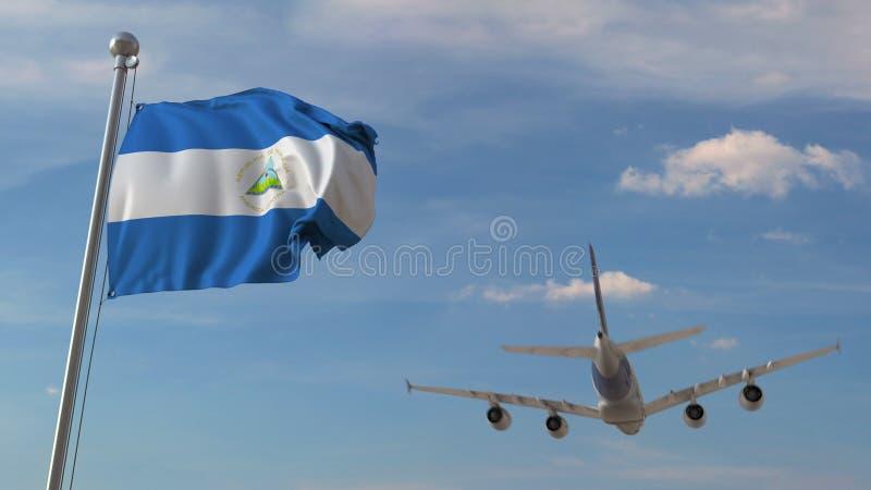 Commercieel vliegtuig die over nationale vlag van Nicaragua vliegen Nicaraguan luchtvervoer bracht het 3D teruggeven met elkaar i stock illustratie