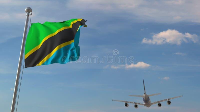 Commercieel vliegtuig die over nationale vlag van Tanzania vliegen Het Tanzaniaanse luchtvervoer bracht het 3D teruggeven met elk royalty-vrije illustratie