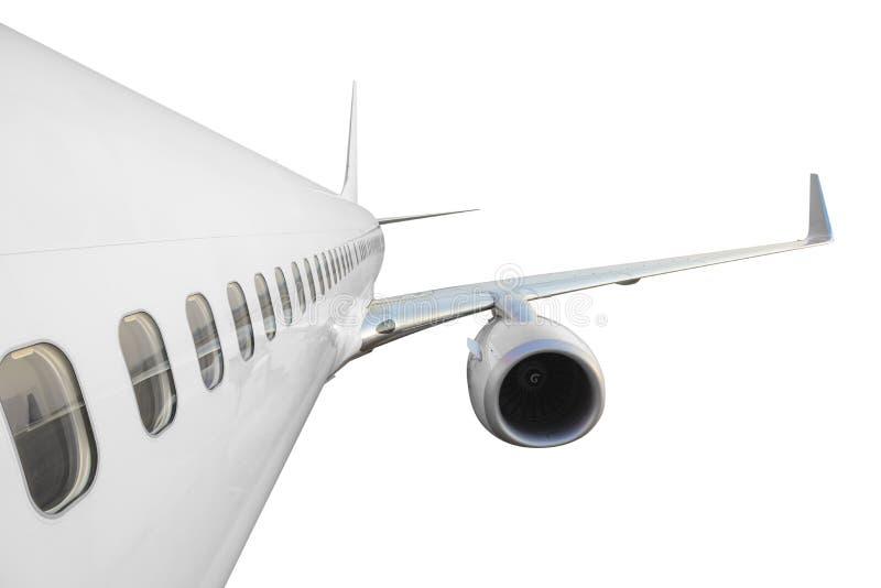 Commercieel vliegtuig zijaanzicht met vleugel royalty-vrije stock foto's