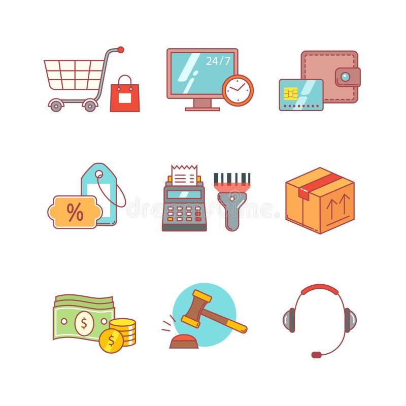 Commercio al dettaglio del prodotto, acquisto di Internet illustrazione di stock