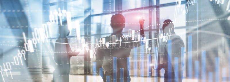 Commercio dei forex, mercato finanziario, concetto di investimento sul fondo del centro di affari fotografie stock libere da diritti