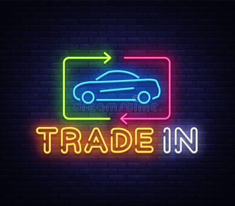 Commercio dell'automobile del vettore dell'insegna al neon Insegna al neon del modello di progettazione dell'automobile di affitt illustrazione vettoriale