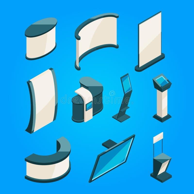 Commercio dell'Expo Il prodotto corrisponde alla mostra Immagini isometriche di vettore illustrazione vettoriale