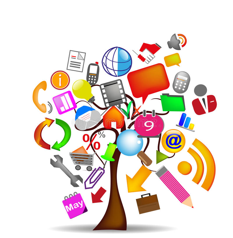 Commercio delle icone dell'albero illustrazione vettoriale