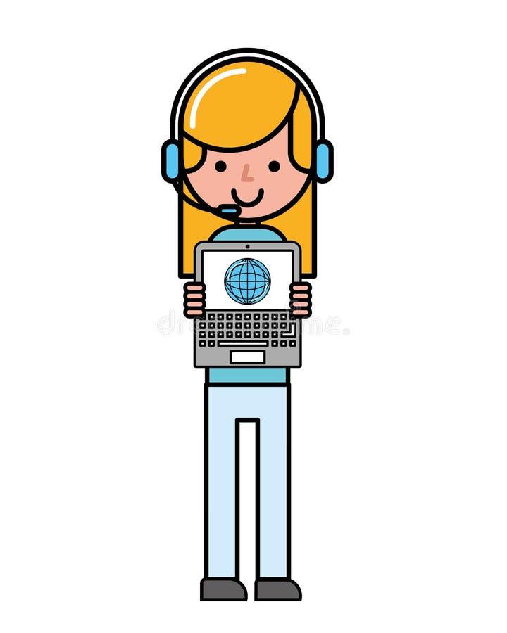 Commercio di compera online del mondo del computer portatile della ragazza dell'operatore royalty illustrazione gratis