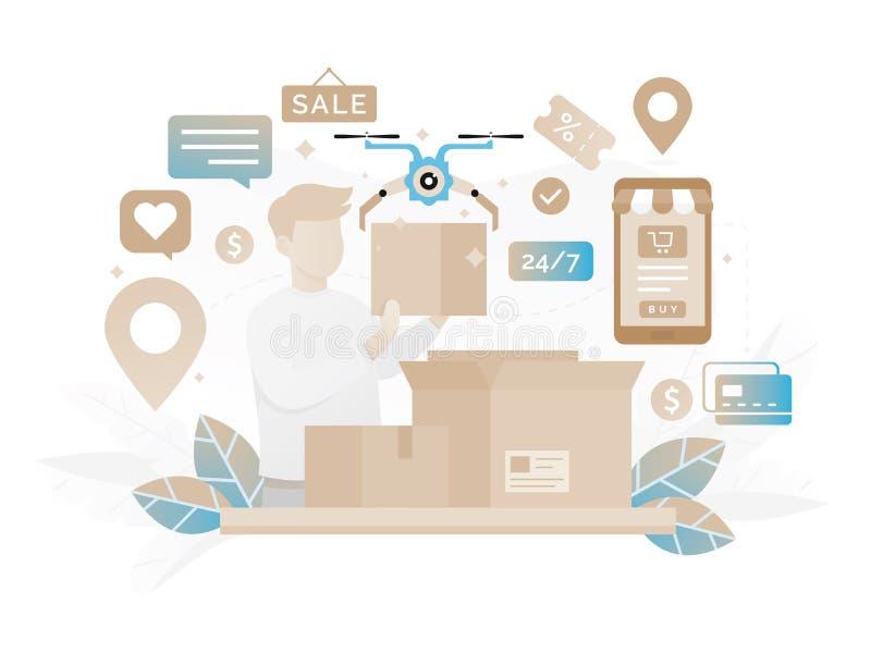 Commercio di compera online 24 ore di servizio di servizio clienti illustrazione vettoriale