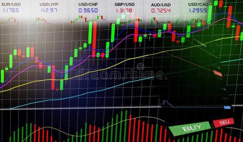 Commercio di riserva dei forex - i grafici del grafico commerciale dei grafici forex/finanziari rappresentano graficamente le inf illustrazione di stock