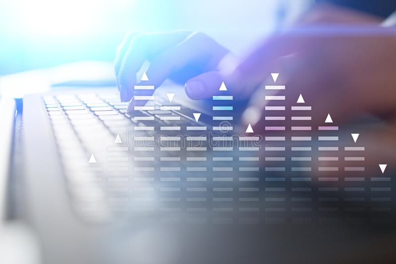 Commercio di riserva, diagramma di analisi dei dati, grafico, grafico sullo schermo virtuale Concetto di tecnologia e di affari royalty illustrazione gratis
