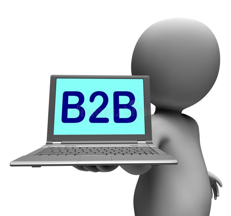 Commercio e commercio di affari di manifestazioni del carattere del computer portatile di B2b online illustrazione di stock