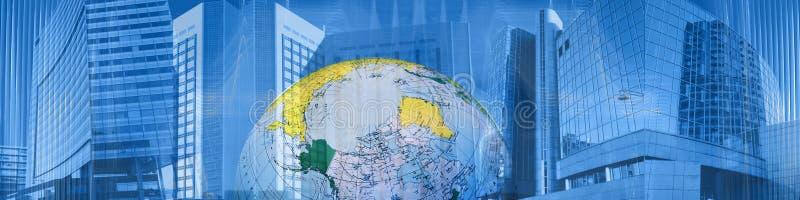 Commercio e successo in tutto il mondo dell'intestazione immagine stock