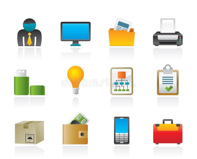 Commercio ed icone dei mobili d'ufficio illustrazione di stock