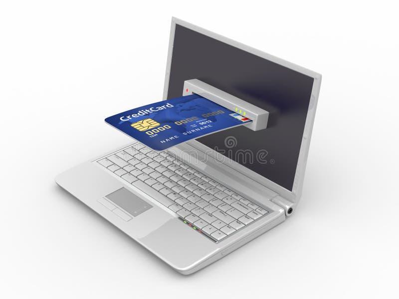 Commercio elettronico. Computer portatile e carta di credito. illustrazione di stock