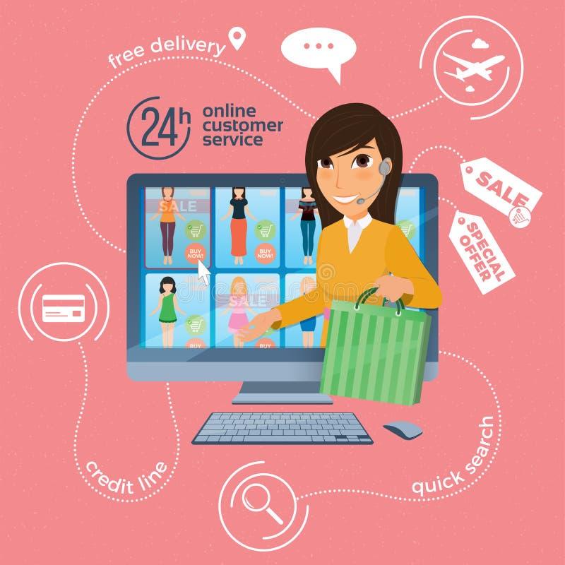 Commercio elettronico con l'immagine online di consegna e di acquisto con royalty illustrazione gratis
