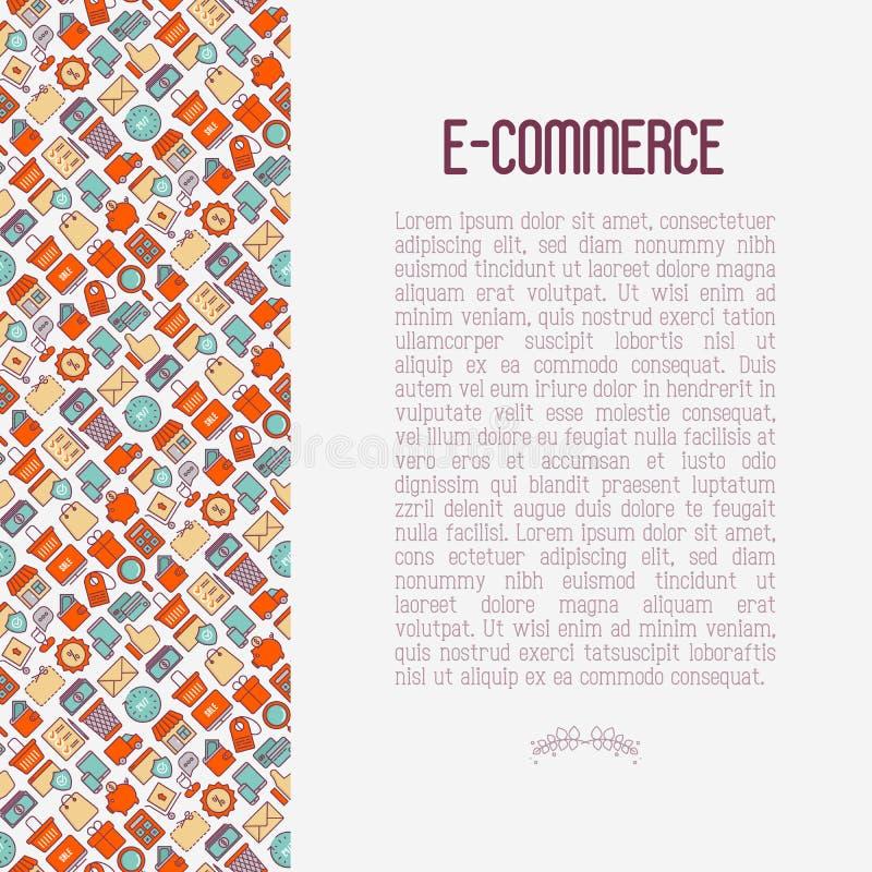 Commercio elettronico, concetto di compera con la linea sottile icone illustrazione di stock
