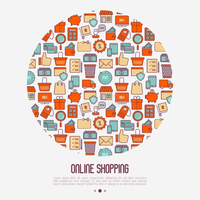 Commercio elettronico, concetto di compera nel cerchio royalty illustrazione gratis