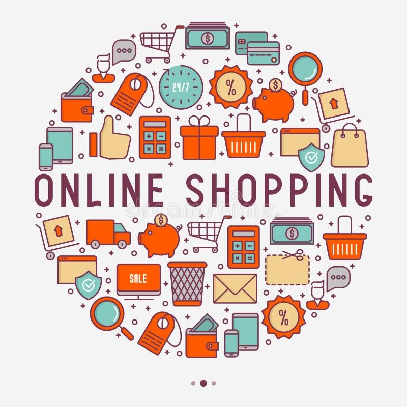 Commercio elettronico, concetto di compera nel cerchio illustrazione di stock