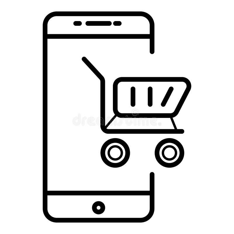 Commercio elettronico dell'icona, telefono d'acquisto illustrazione di stock