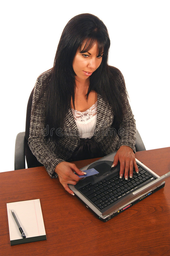 Commercio elettronico della donna di affari fotografie stock libere da diritti
