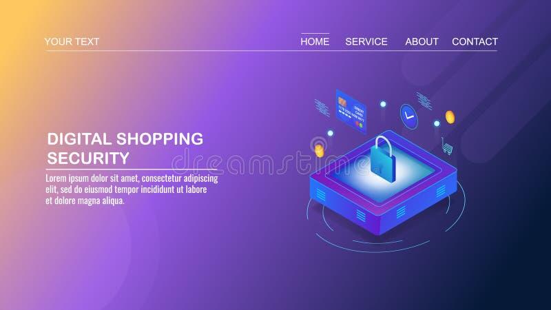 Commercio elettronico di affari di Digital, online comperando, sistema di pagamento sicuro, protezione dei dati, concetto di prog illustrazione di stock