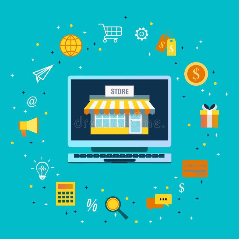 Commercio elettronico di compera online 24 ore di servizio clienti di concetto di servizio con le opzioni di pagamento illustrazione di stock