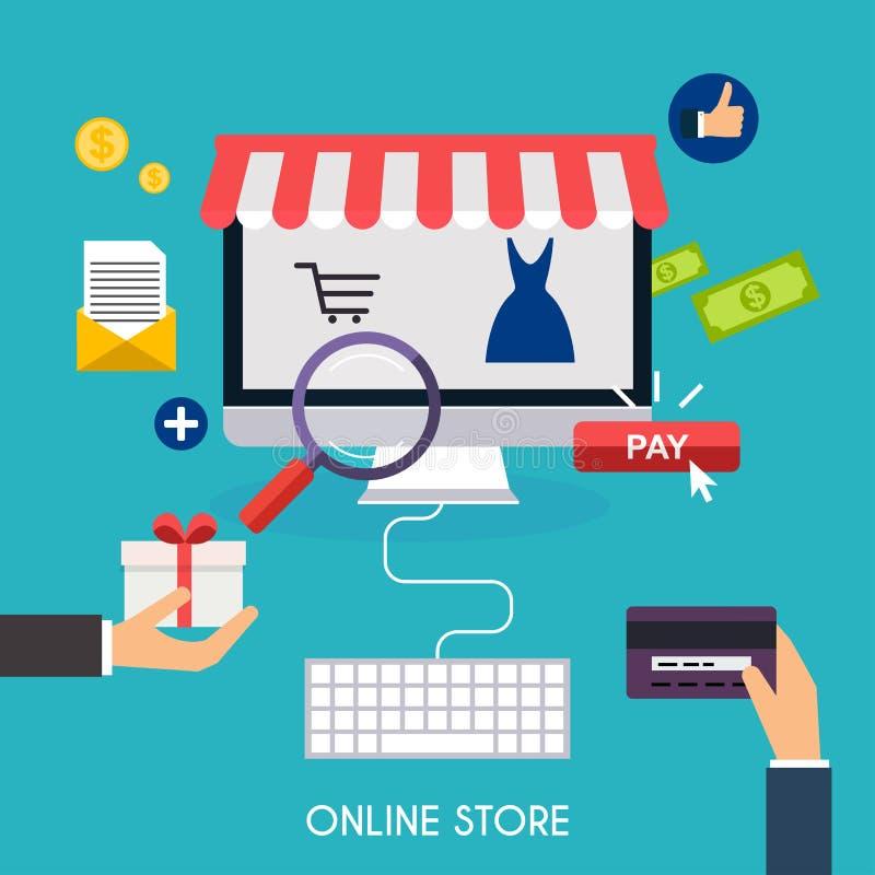 Commercio elettronico, e-business, acquisto online, pagamento royalty illustrazione gratis