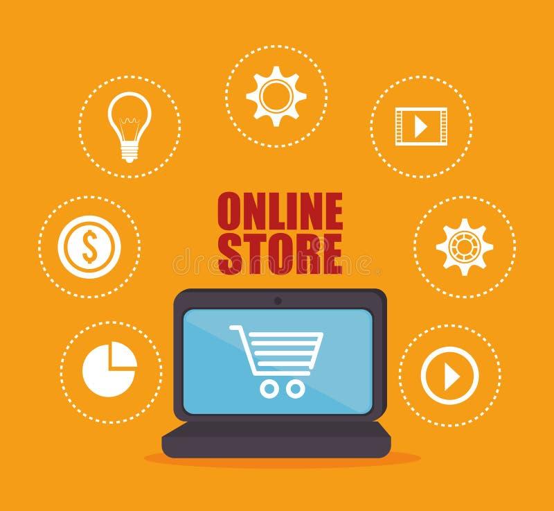 Commercio elettronico ed acquisto illustrazione vettoriale