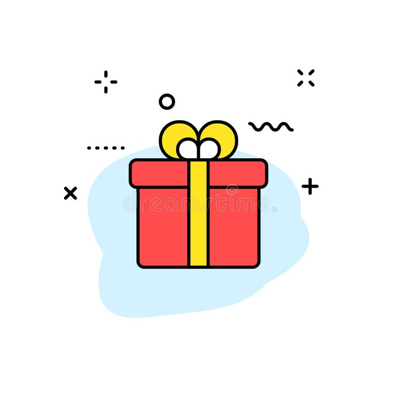 Commercio elettronico ed icone di compera di web nella linea stile Negozio mobile, vendita di Digital, carta assegni, regali Illu illustrazione di stock
