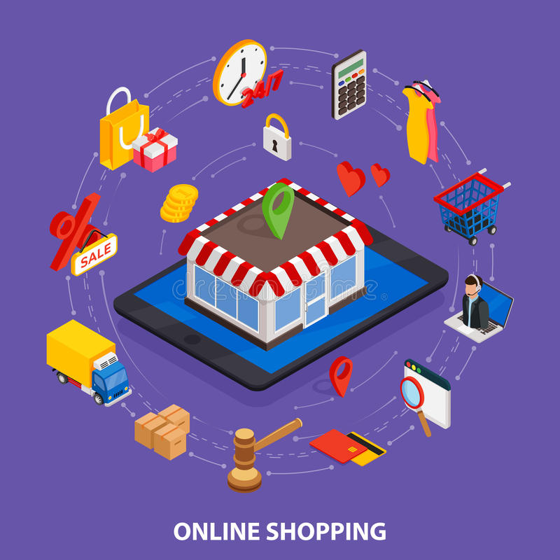 Commercio elettronico isometrico di web piano 3d, e-business, acquisto online, pagamento, consegna, processo di trasporto, vendit illustrazione vettoriale