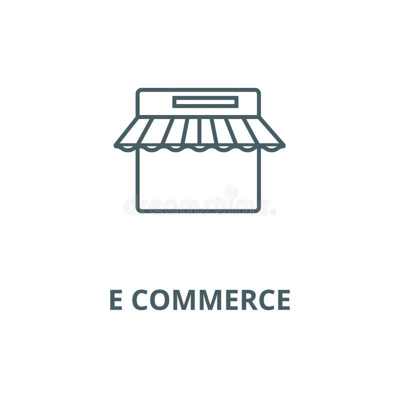Commercio elettronico, linea icona, vettore del negozio di Internet Commercio elettronico, segno del profilo del negozio di Inter royalty illustrazione gratis