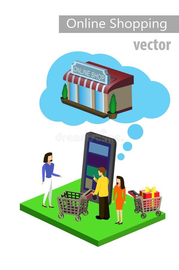 Commercio elettronico mobile di acquisto illustrazione vettoriale
