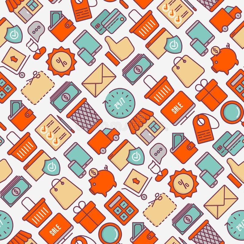 Commercio elettronico, modello senza cuciture di compera illustrazione di stock