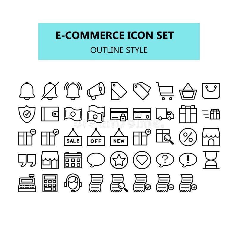 Commercio elettronico, vendita di Internet, insieme dell'icona in pixel perfetto Profilo o linea stile delle icone illustrazione di stock