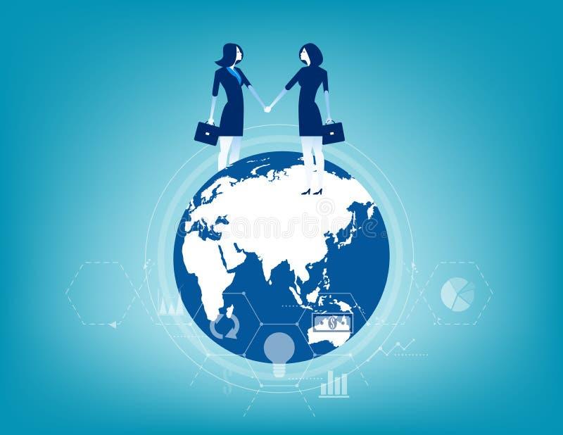 Commercio globale Contatto di affari mondiale Illustrazione di vettore di affari di concetto illustrazione vettoriale